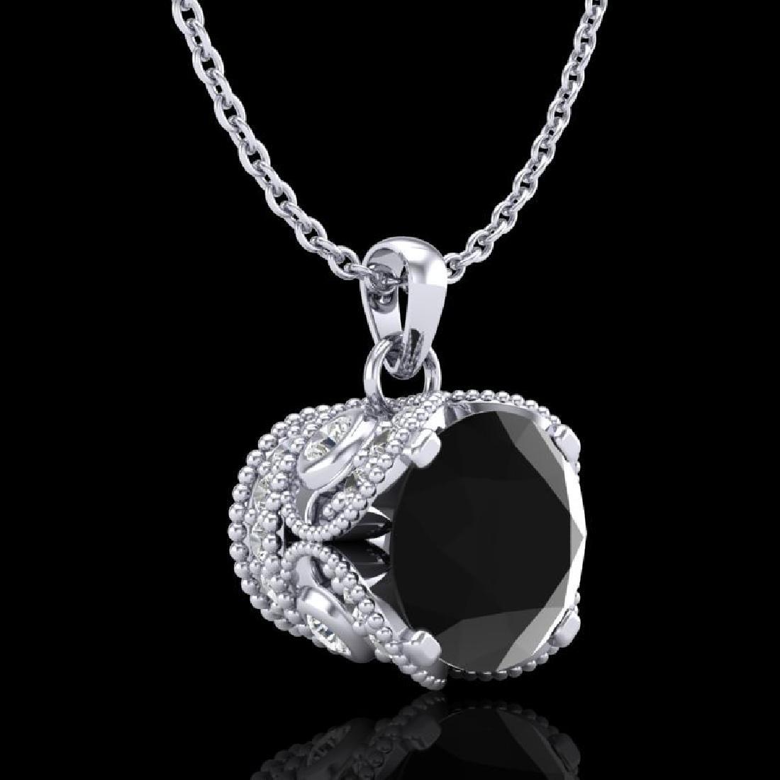 1.13 CTW Fancy Black Diamond Solitaire Art Deco Stud - 3