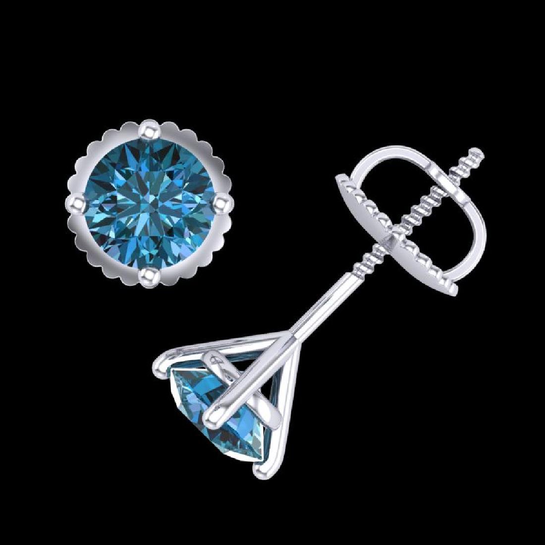 1.01 CTW Fancy Intense Blue Diamond Art Deco Stud - 3