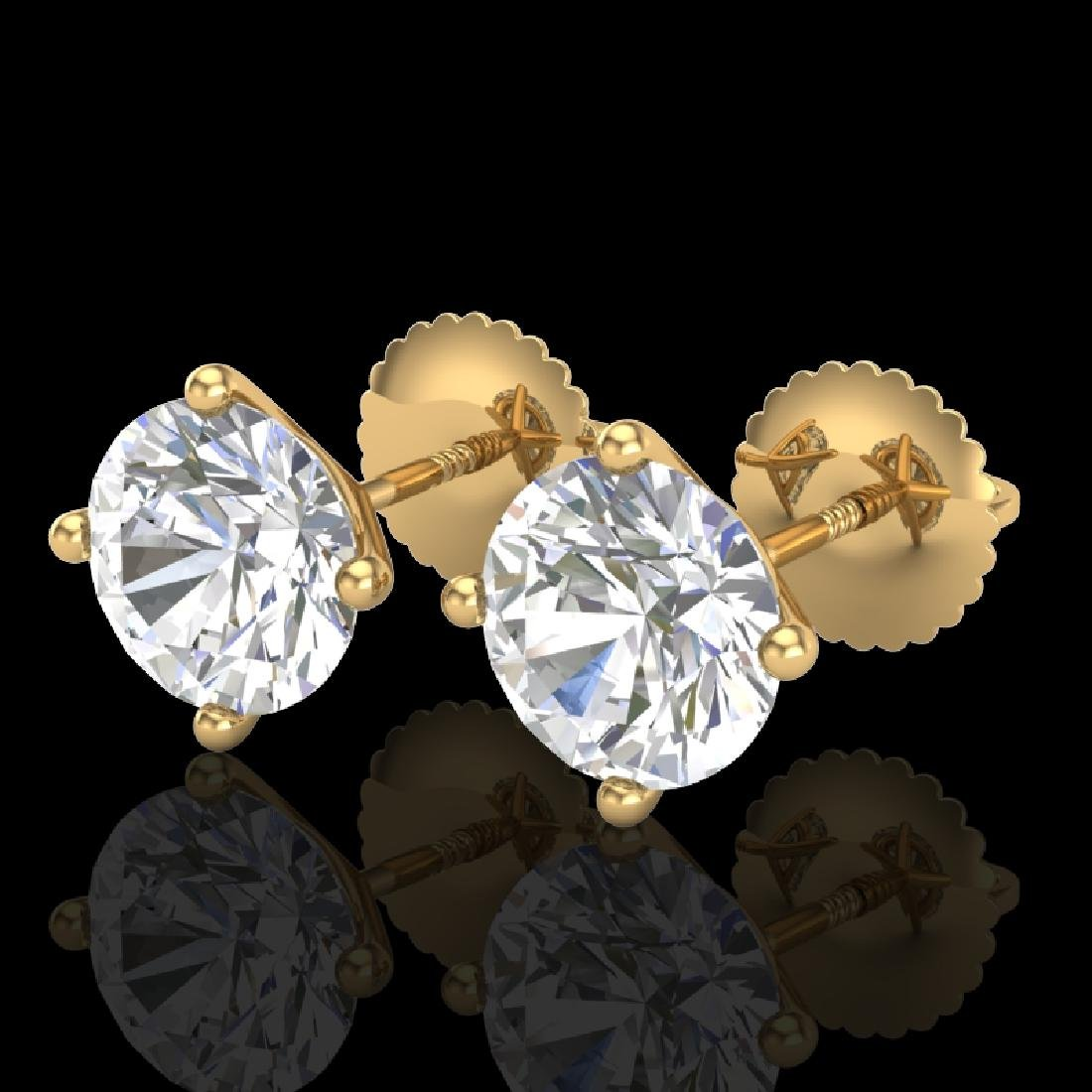 2.5 CTW VS/SI Diamond Solitaire Art Deco Stud Earrings