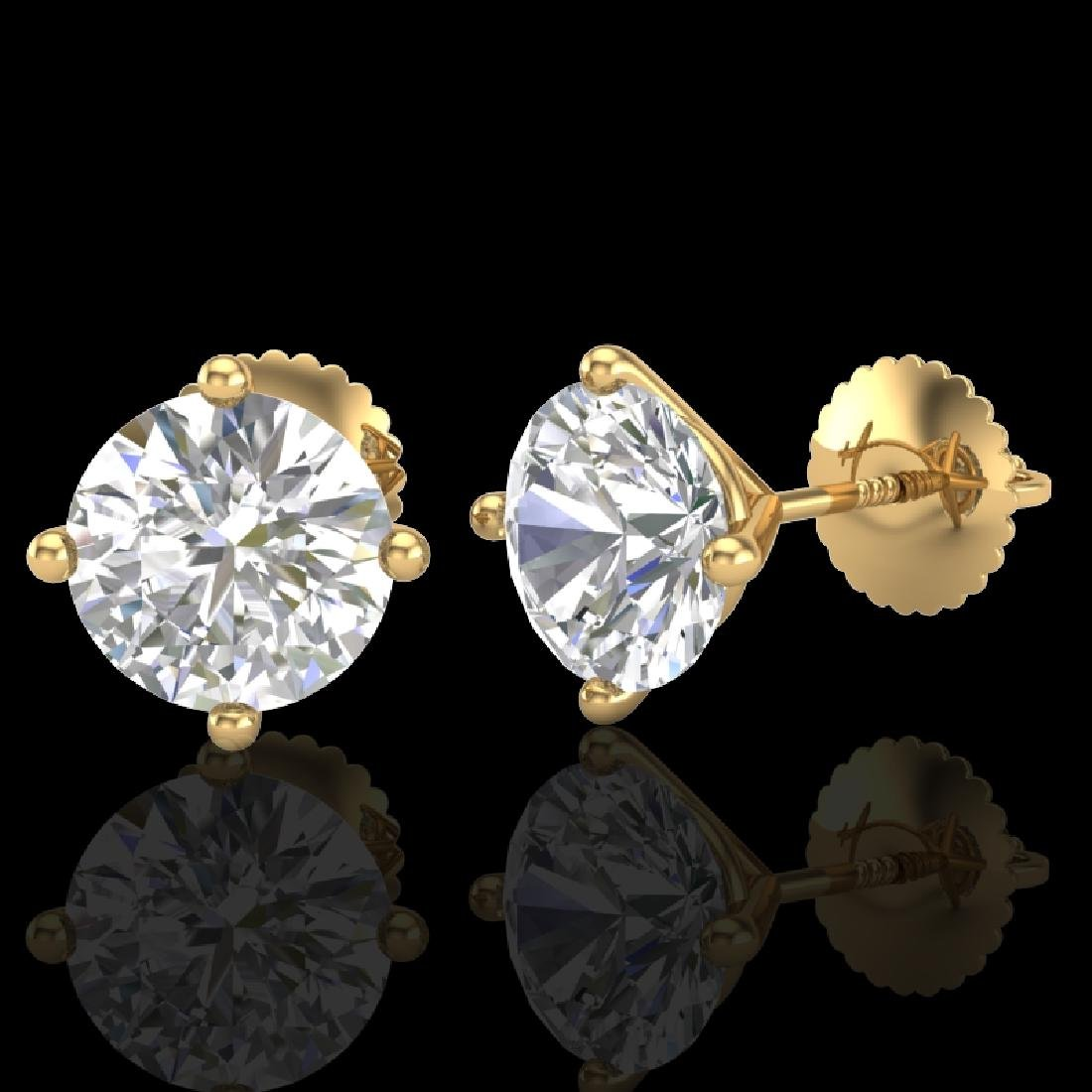 2.5 CTW VS/SI Diamond Solitaire Art Deco Stud Earrings - 2