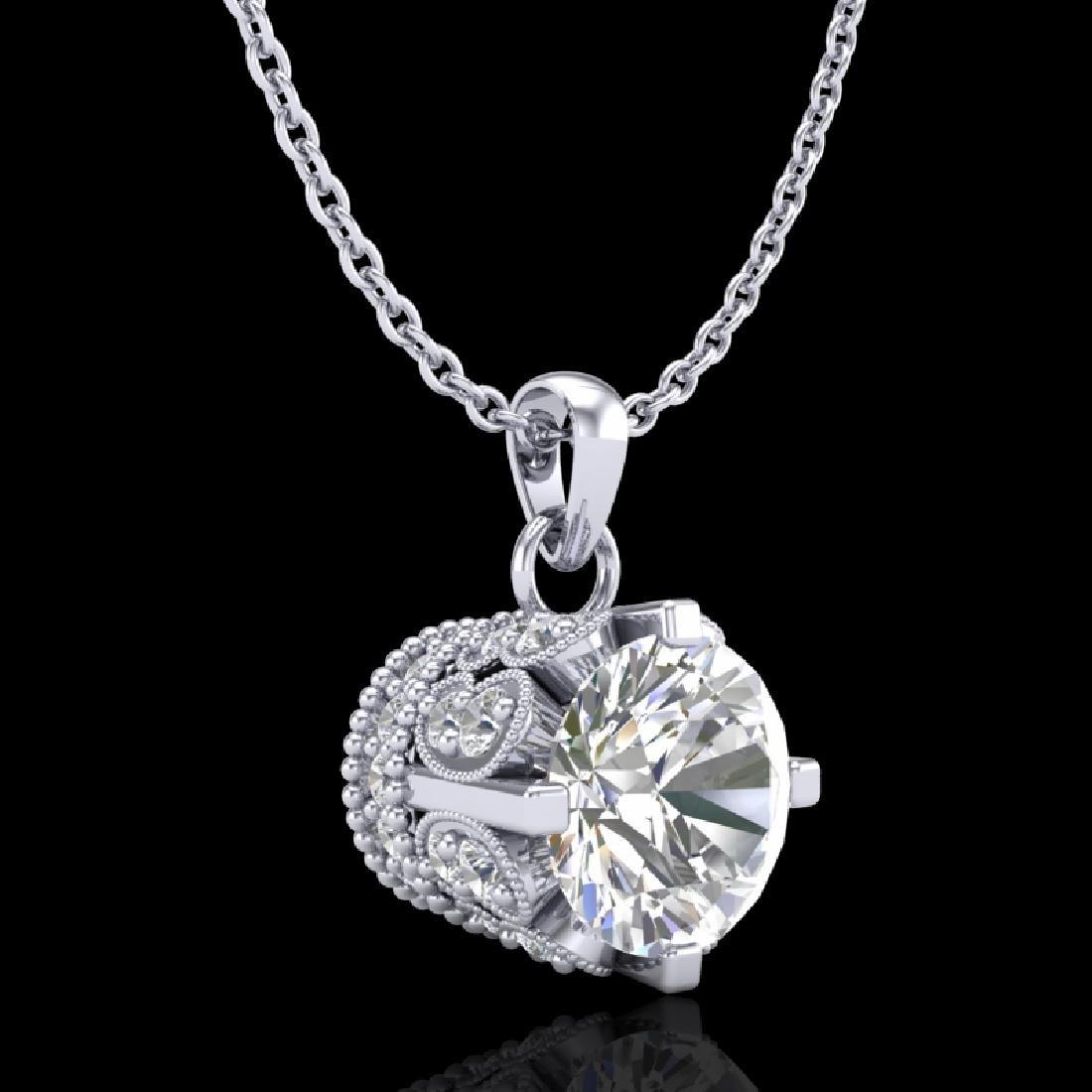 0.85 CTW VS/SI Diamond Solitaire Art Deco Stud Necklace - 2