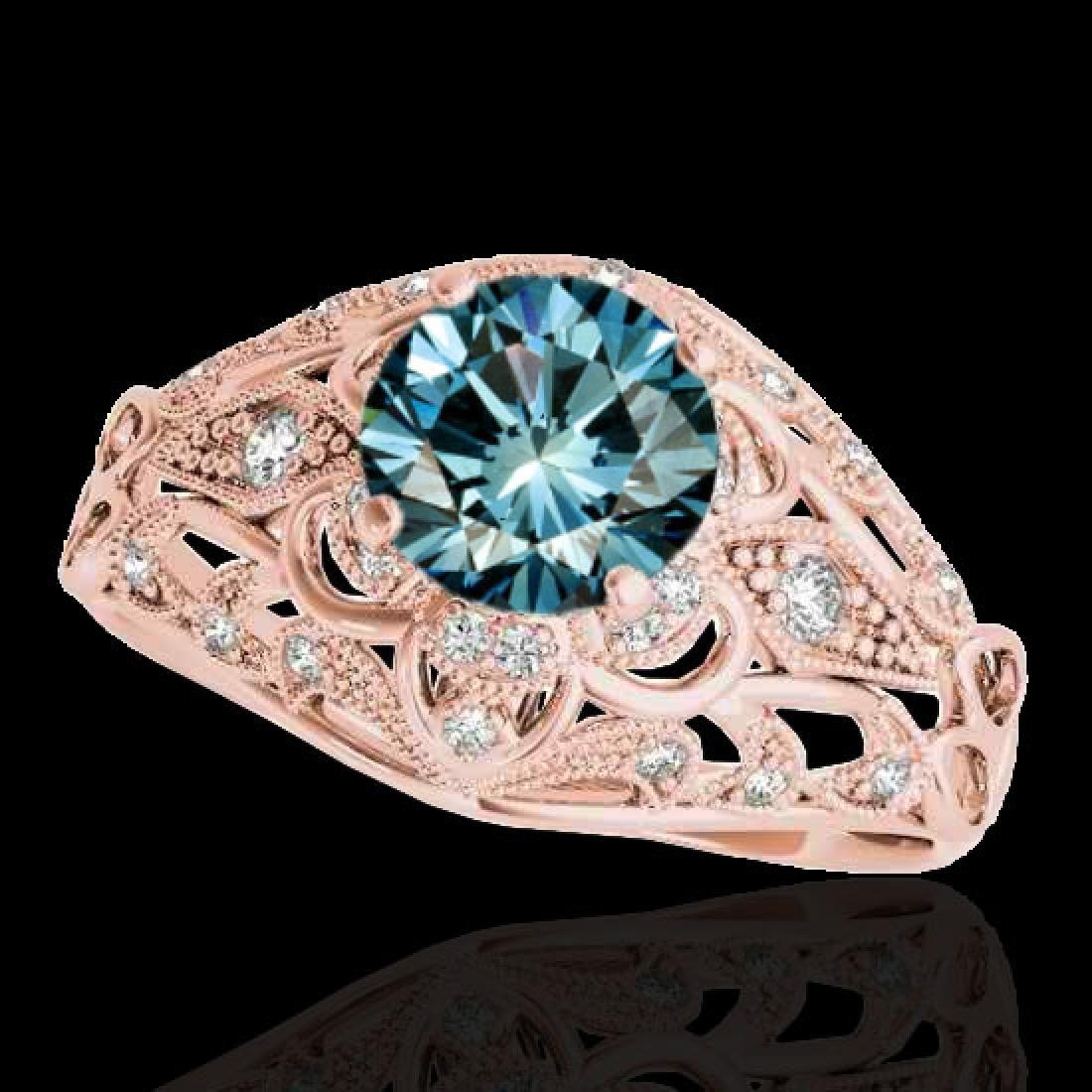 1.36 CTW SI Certified Blue Diamond Solitaire Antique