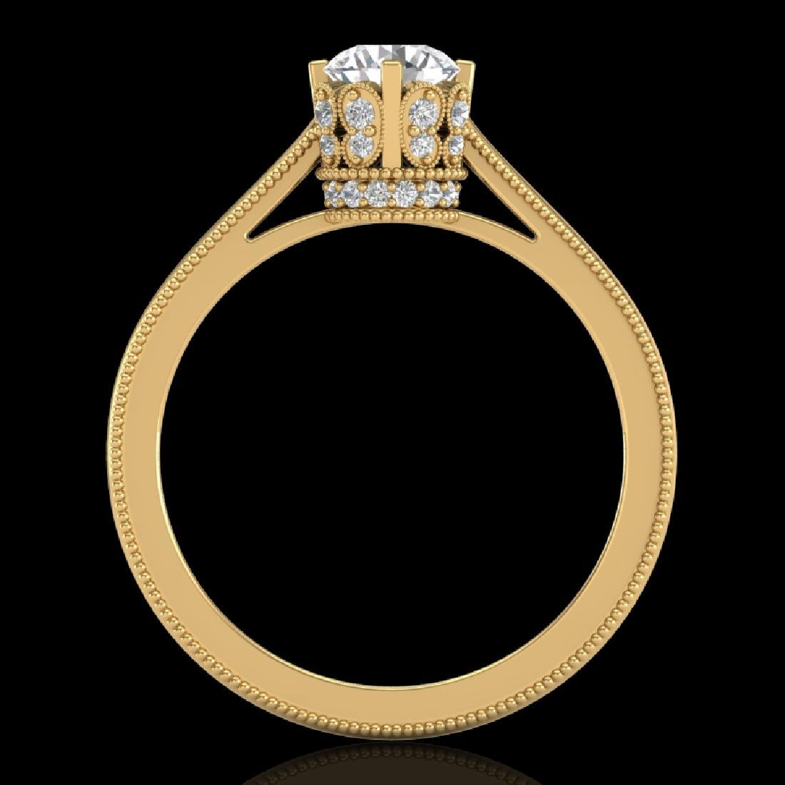 0.81 CTW VS/SI Diamond Art Deco Ring 18K Yellow Gold - 2