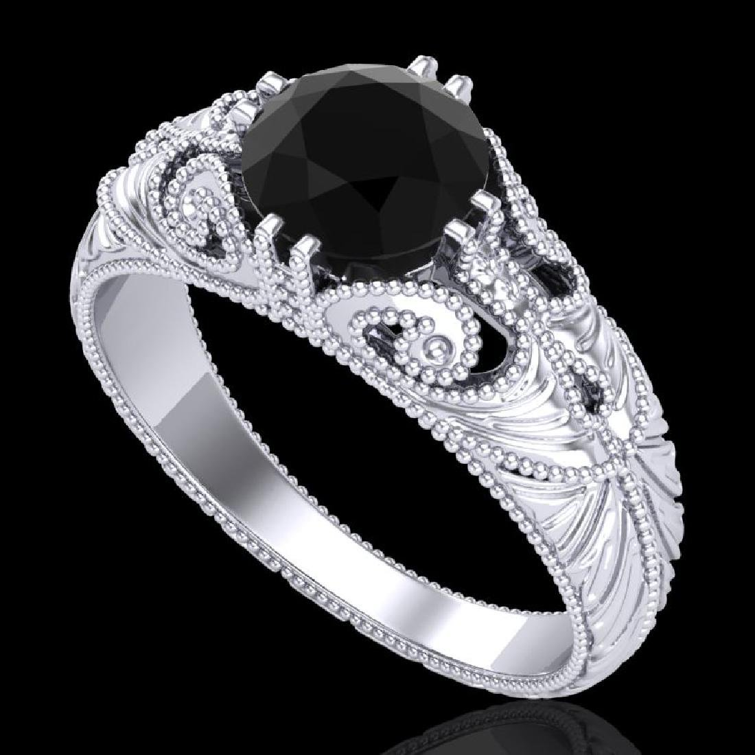 1 CTW Fancy Black Diamond Solitaire Engagement Art Deco