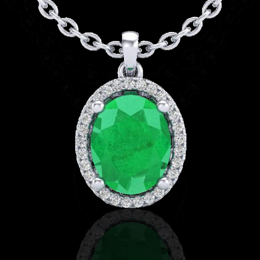 3 CTW Emerald & Micro Pave VS/SI Diamond Necklace Halo - 2