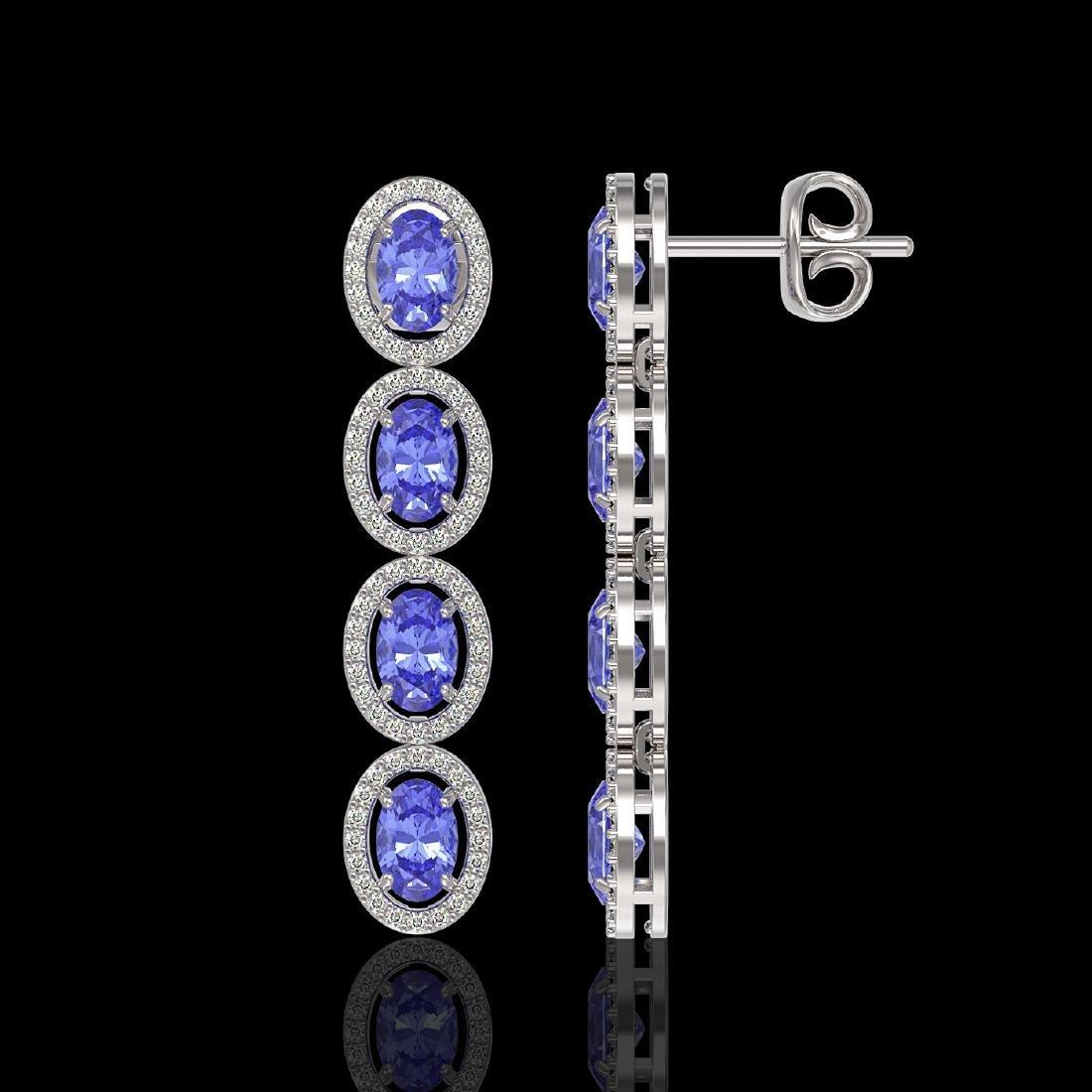 6.09 CTW Tanzanite & Diamond Halo Earrings 10K White - 2