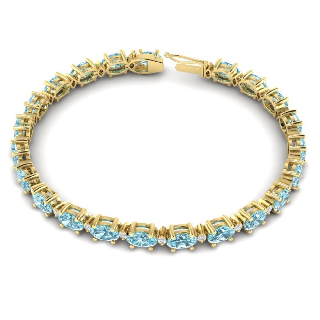 14 CTW Sky Blue Topaz & VS/SI Diamond Eternity Bracelet - 3