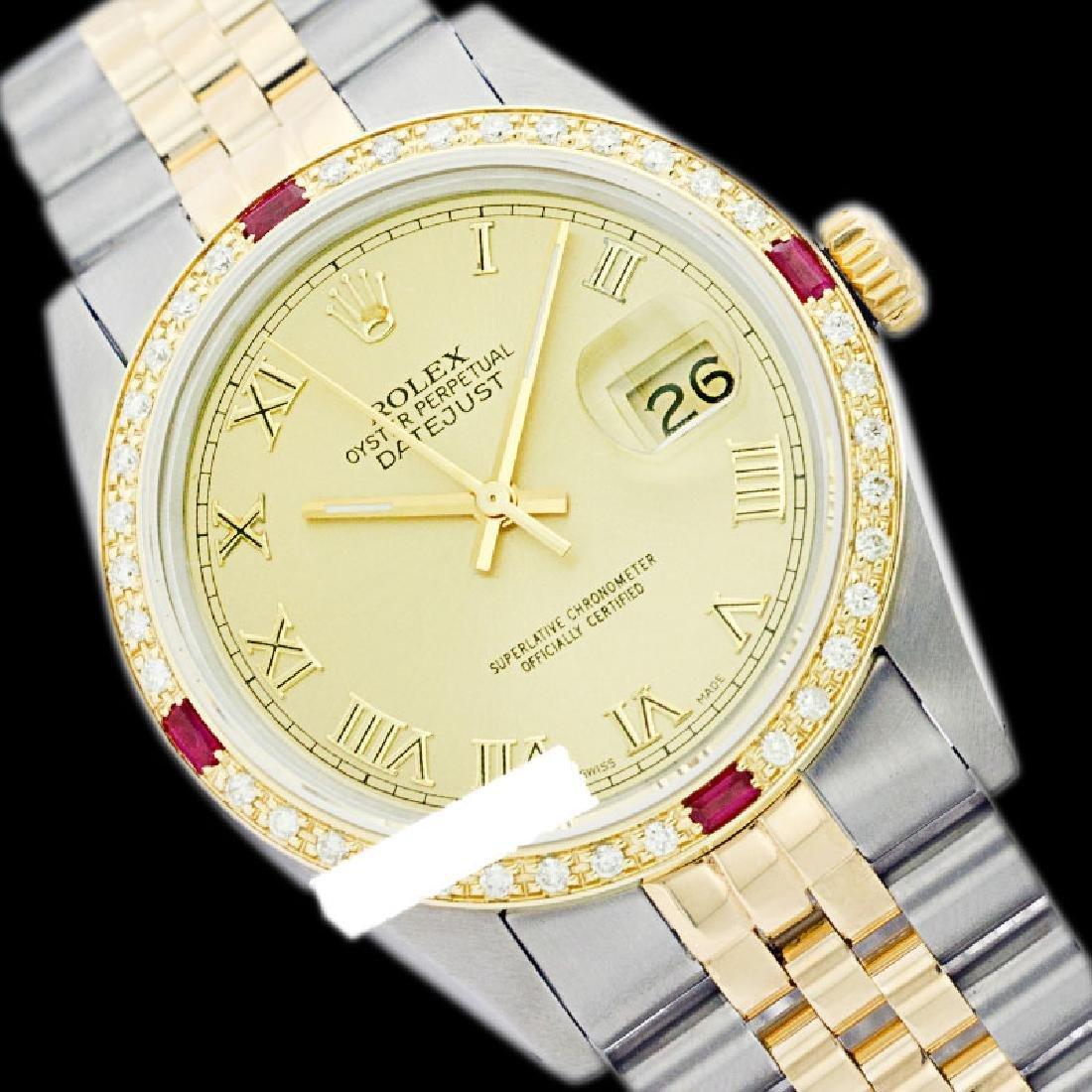 Rolex Men's Two Tone 14K Gold/SS, QuickSet, Roman Dial