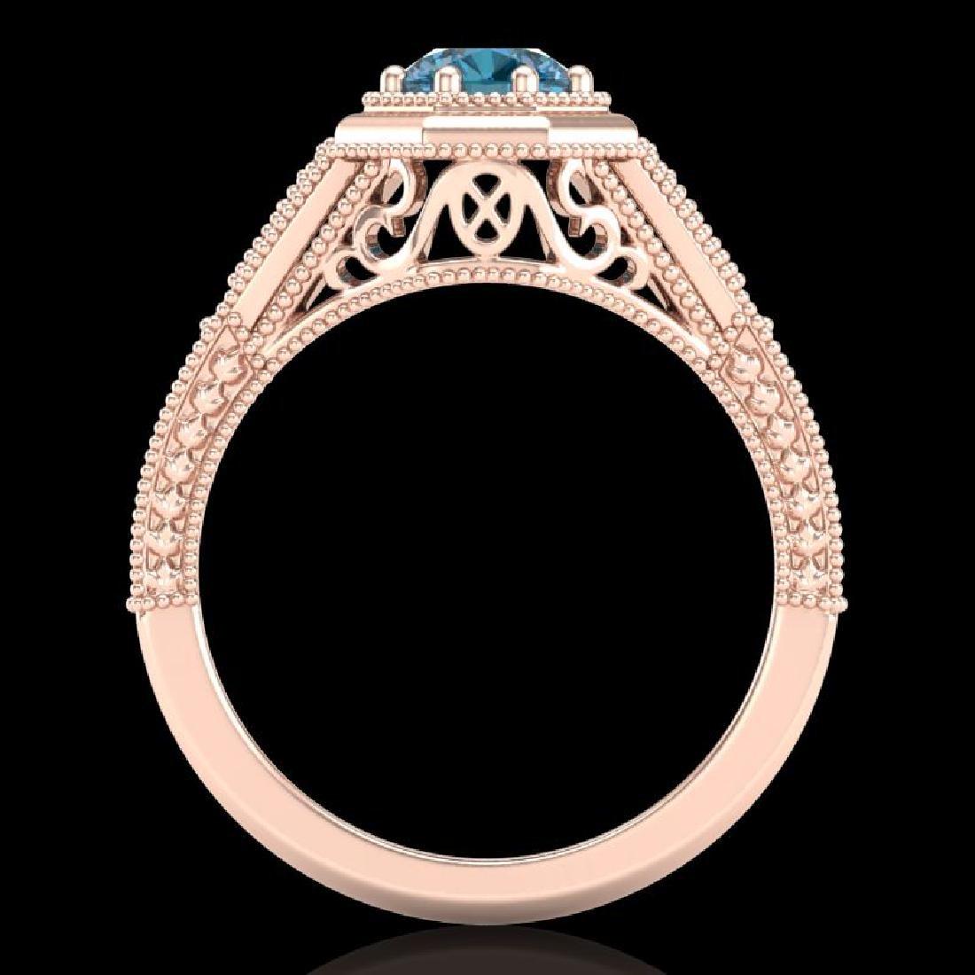 0.84 CTW Fancy Intense Blue Diamond Solitaire Art Deco - 3
