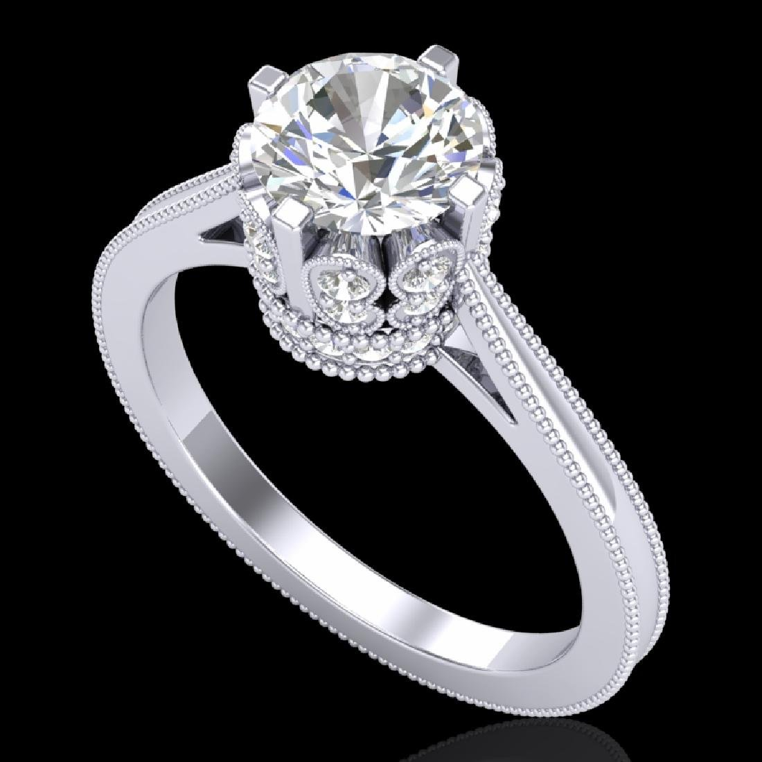 1.5 CTW VS/SI Diamond Art Deco Ring 18K White Gold