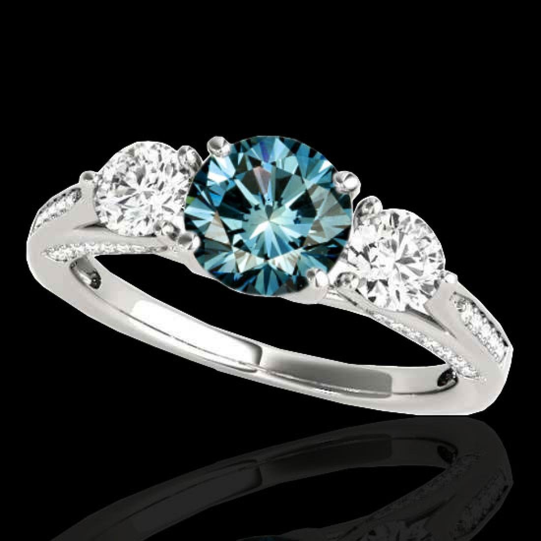 1.75 CTW SI Certified Fancy Blue Diamond 3 Stone Ring