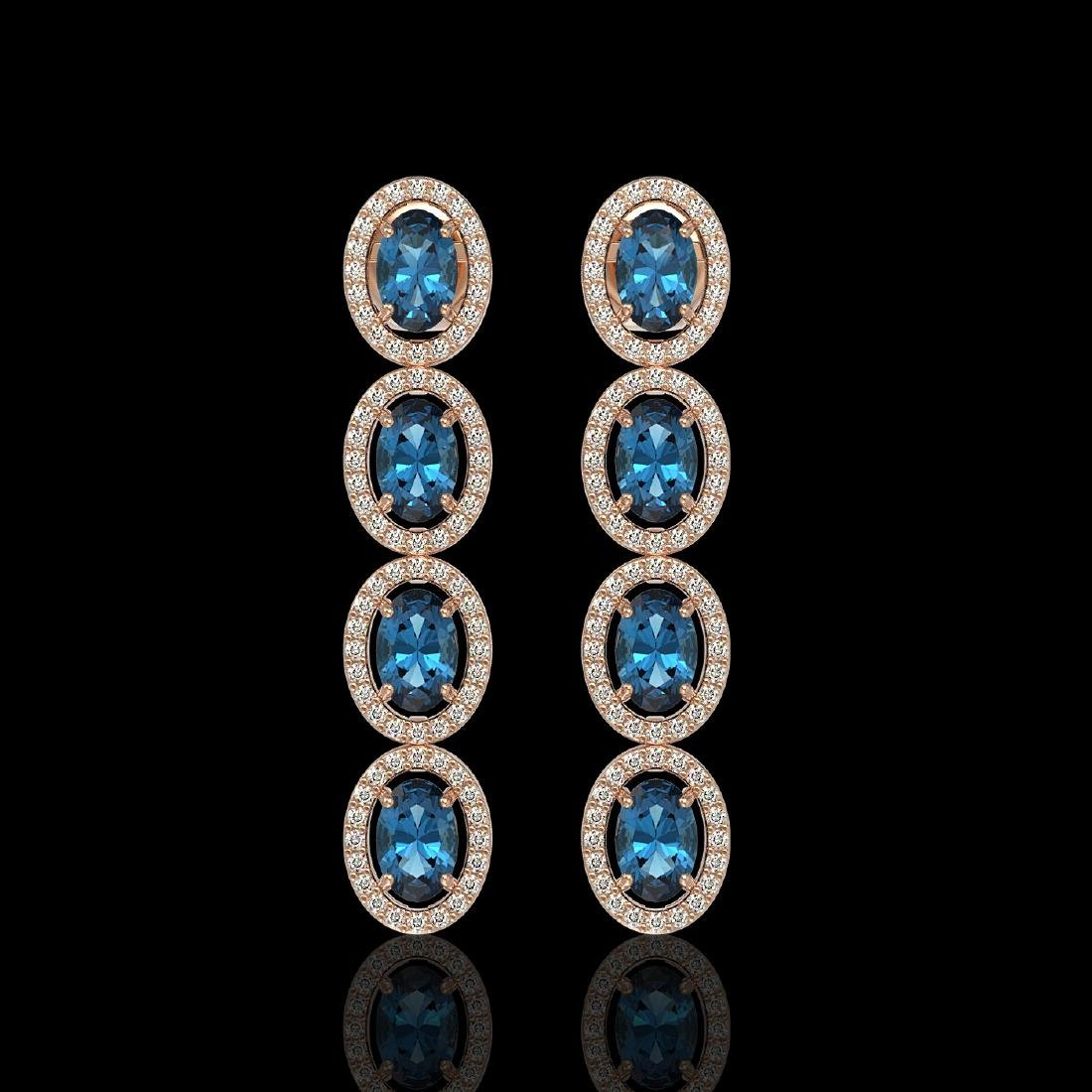6.28 CTW London Topaz & Diamond Halo Earrings 10K Rose