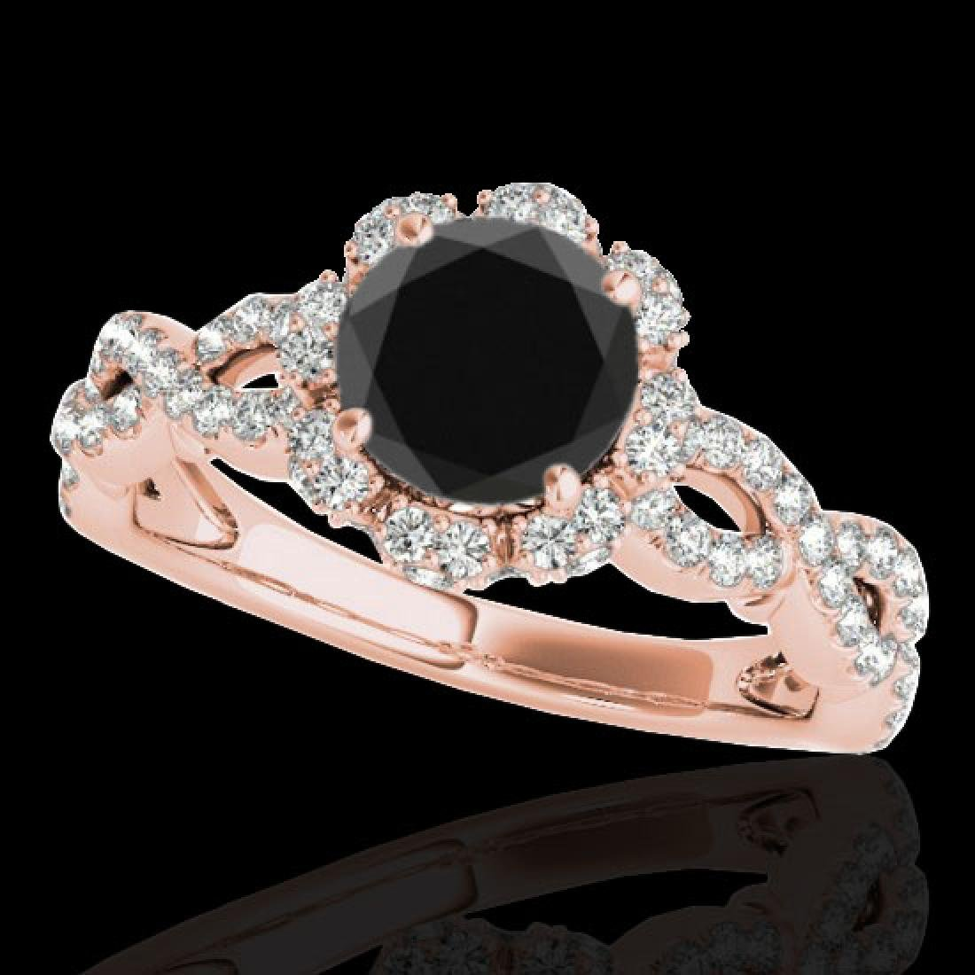 1.69 CTW Certified VS Black Diamond Solitaire Halo Ring