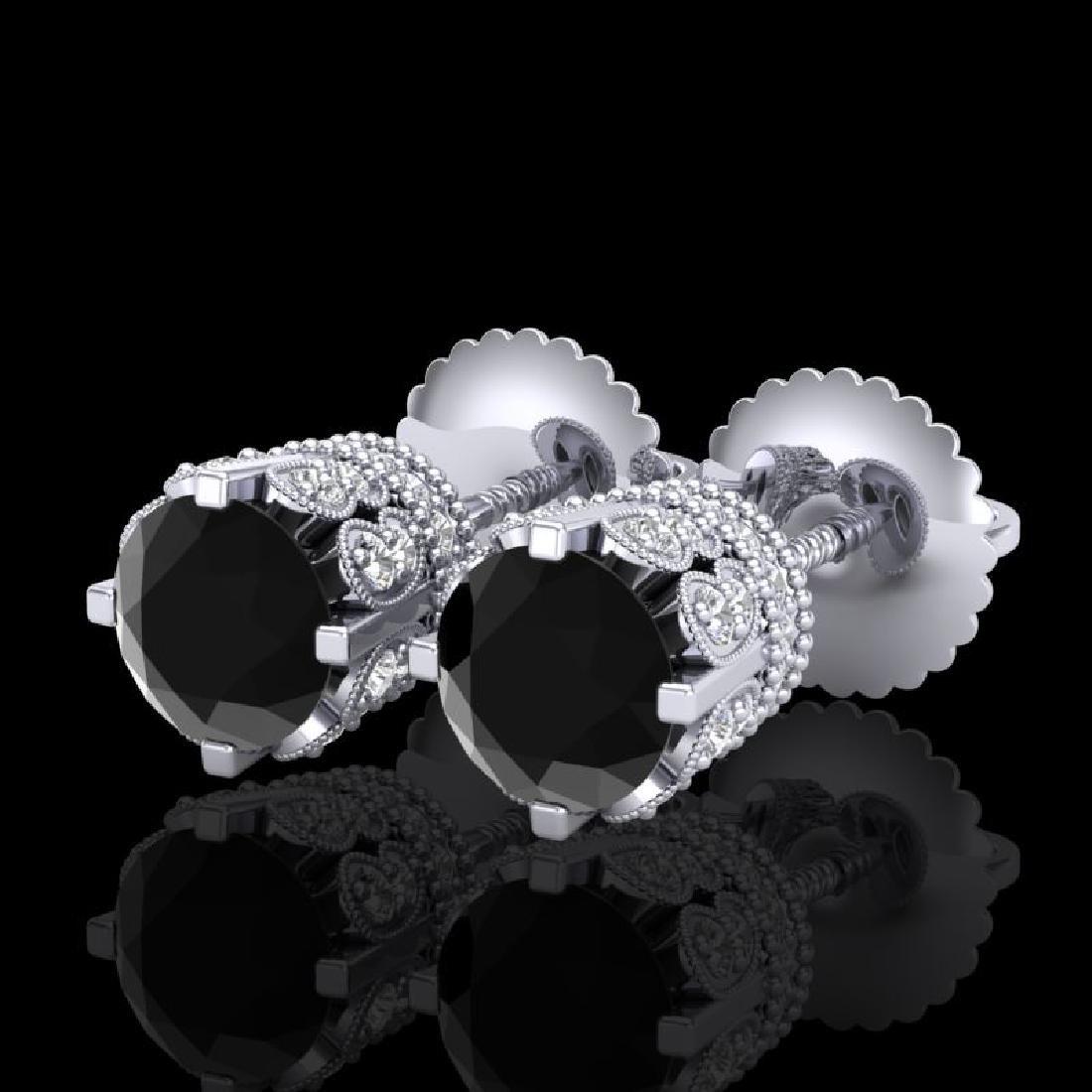 1.75 CTW Fancy Black Diamond Solitaire Art Deco Stud