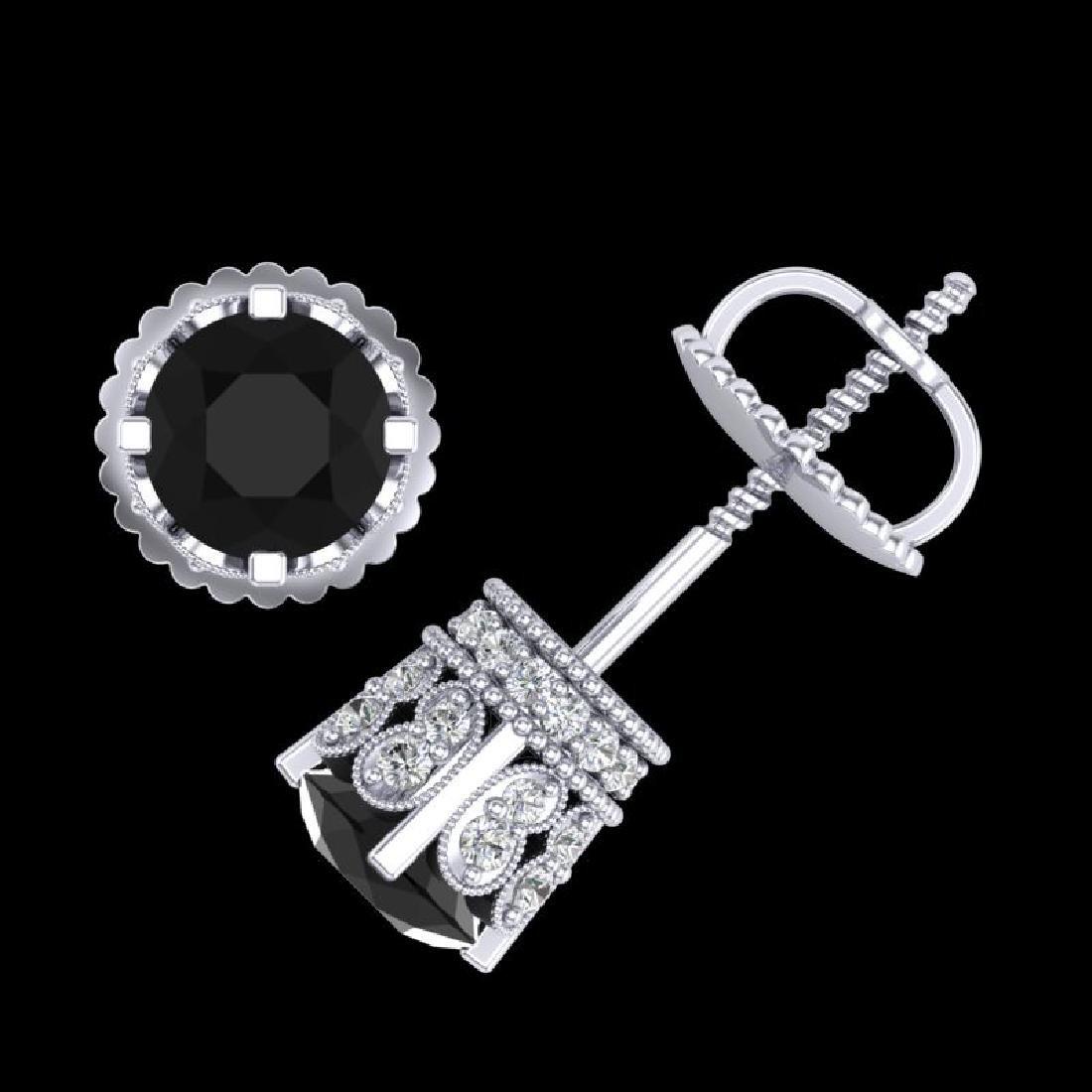 1.75 CTW Fancy Black Diamond Solitaire Art Deco Stud - 2