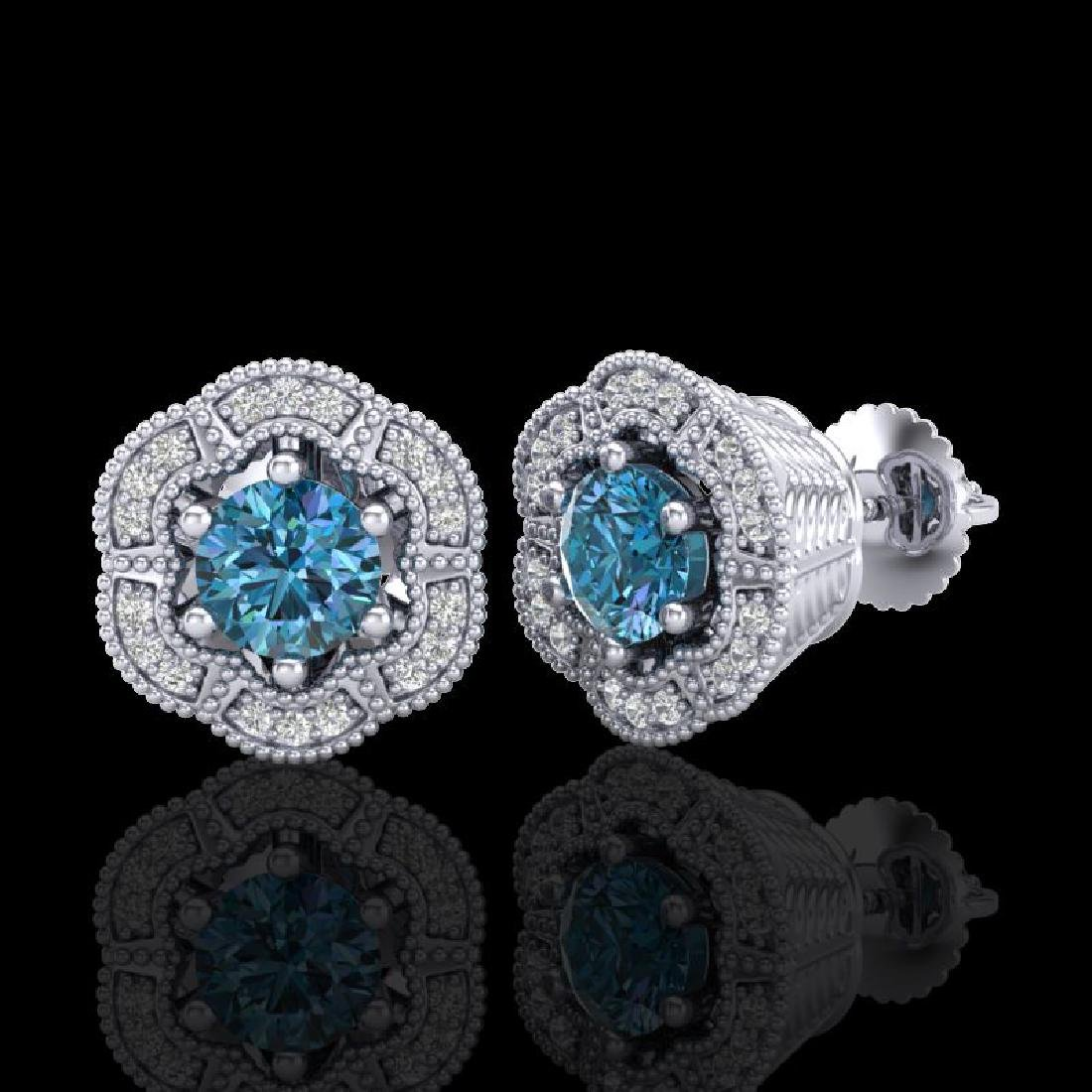 1.51 CTW Fancy Intense Blue Diamond Art Deco Stud - 2