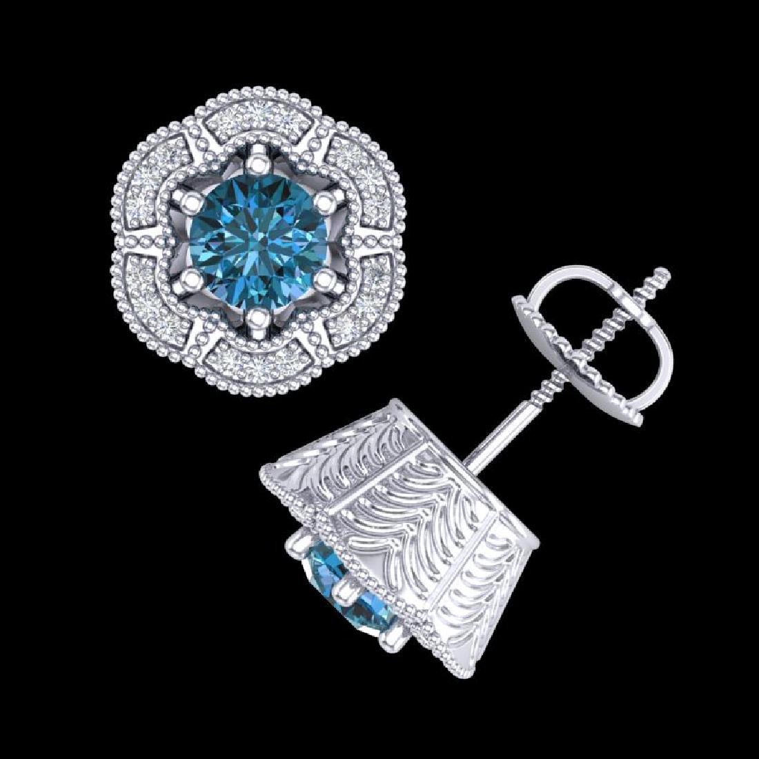1.51 CTW Fancy Intense Blue Diamond Art Deco Stud - 3