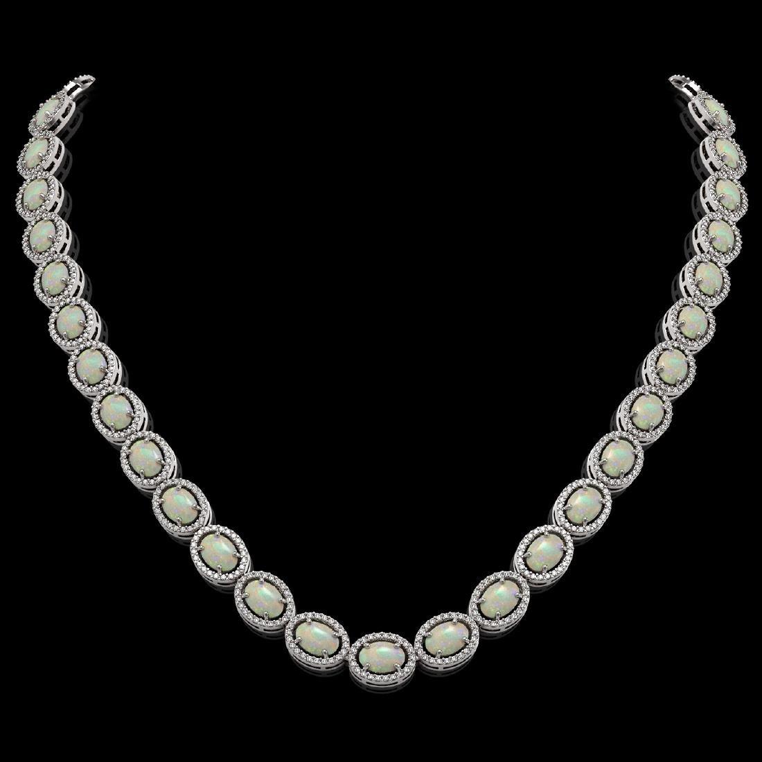 32.42 CTW Opal & Diamond Halo Necklace 10K White Gold