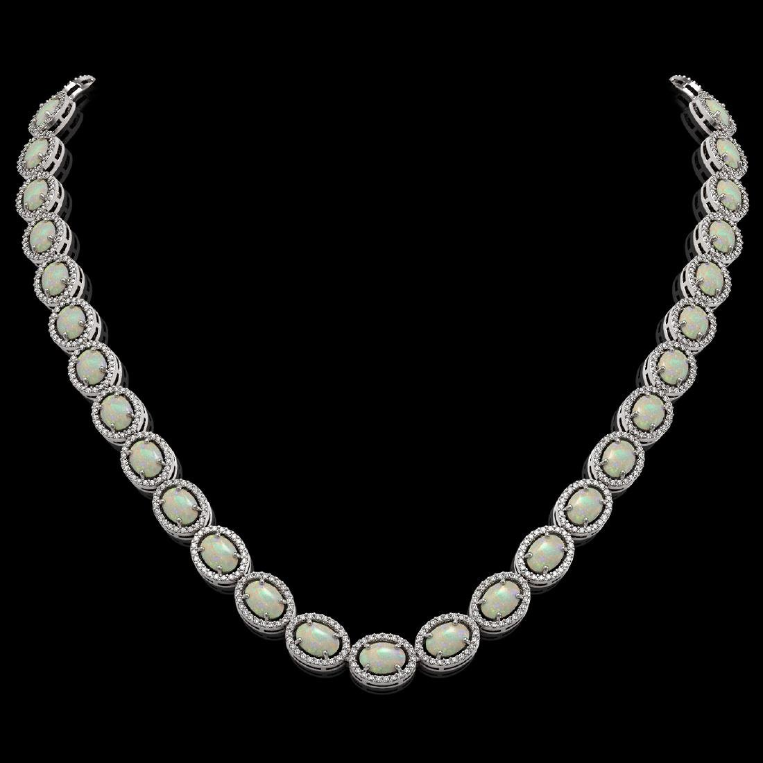 32.42 CTW Opal & Diamond Halo Necklace 10K White Gold