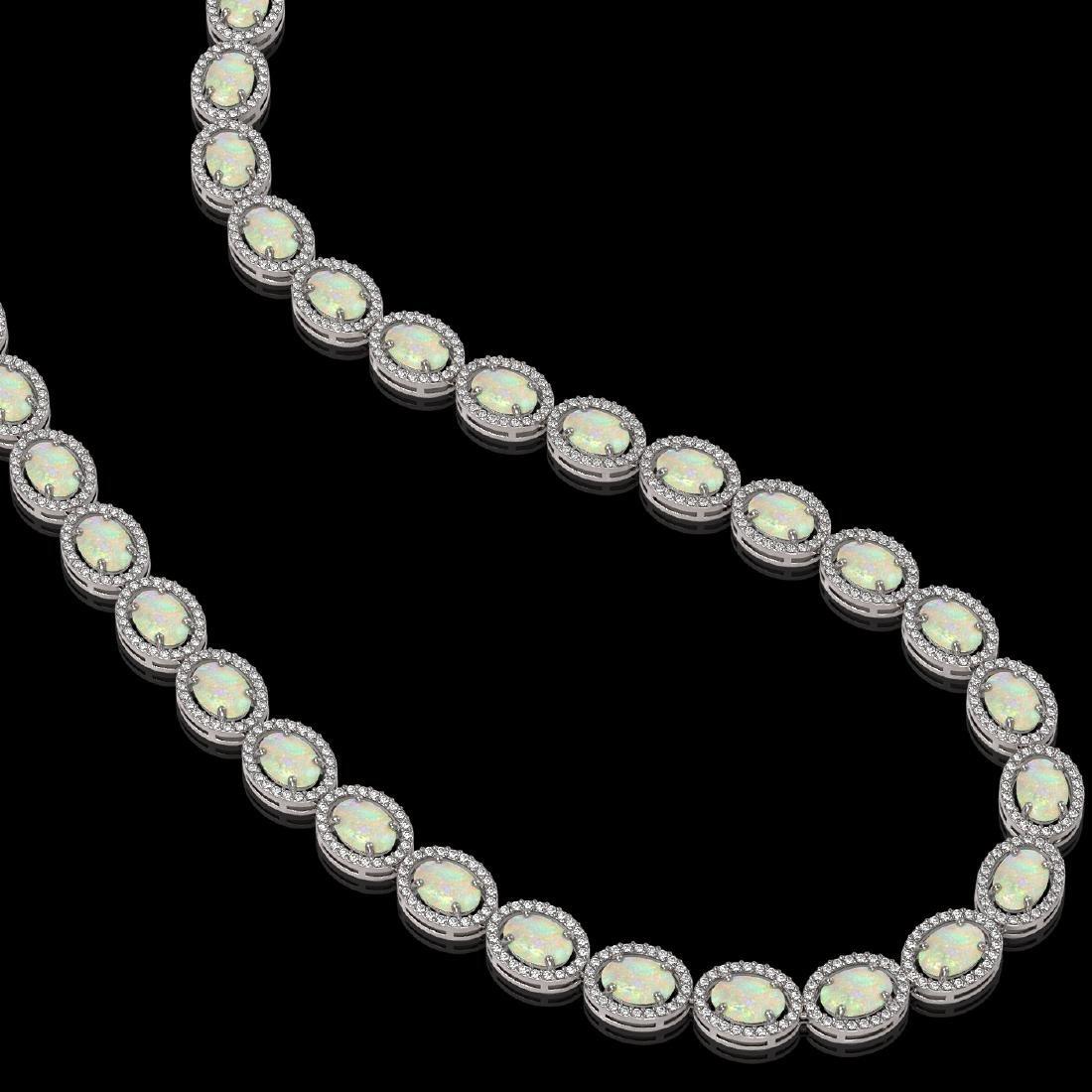 32.42 CTW Opal & Diamond Halo Necklace 10K White Gold - 2