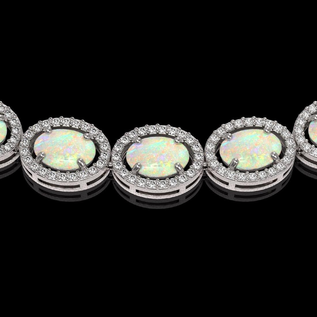 32.42 CTW Opal & Diamond Halo Necklace 10K White Gold - 3