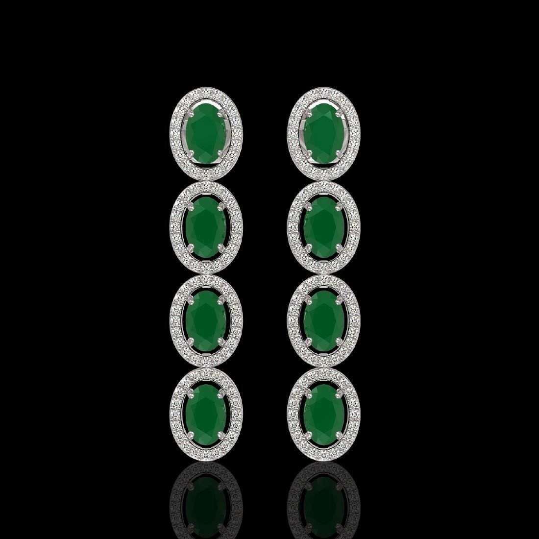 6.47 CTW Emerald & Diamond Halo Earrings 10K White Gold