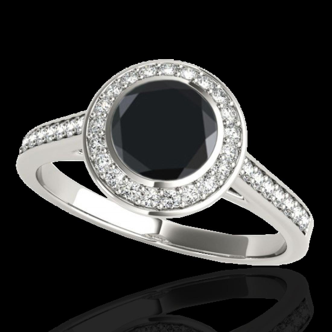 1.3 CTW Certified VS Black Diamond Solitaire Halo Ring - 2