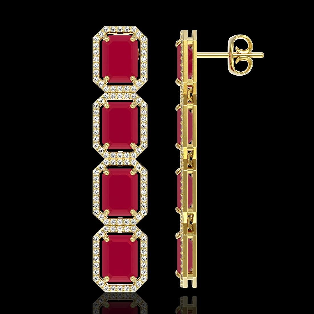 20.59 CTW Ruby & Diamond Halo Earrings 10K Yellow Gold - 2