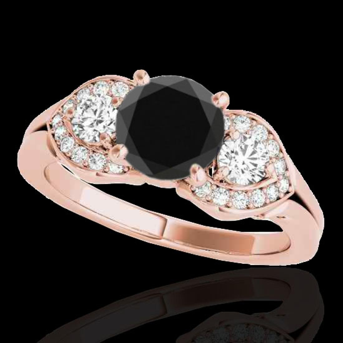 1.45 CTW Certified VS Black Diamond 3 Stone Ring 10K