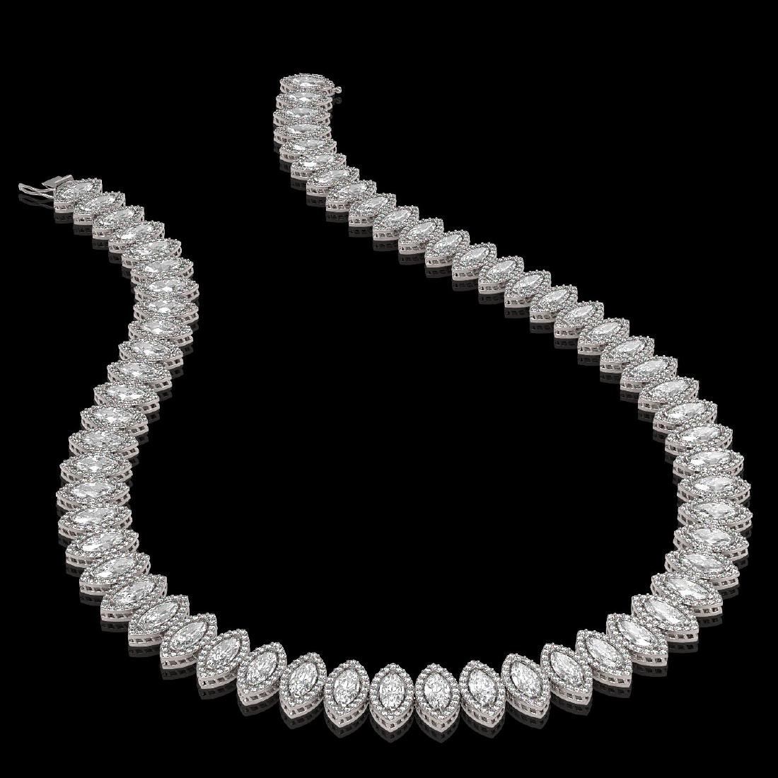 39.68 CTW Marquise Diamond Designer Necklace 18K White - 2