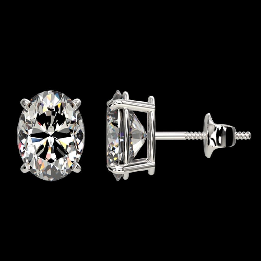2.50 CTW Certified VS/SI Quality Oval Diamond Stud - 2