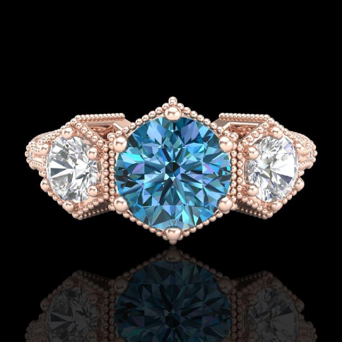 1.66 CTW Intense Blue Diamond Solitaire Art Deco 3 - 2
