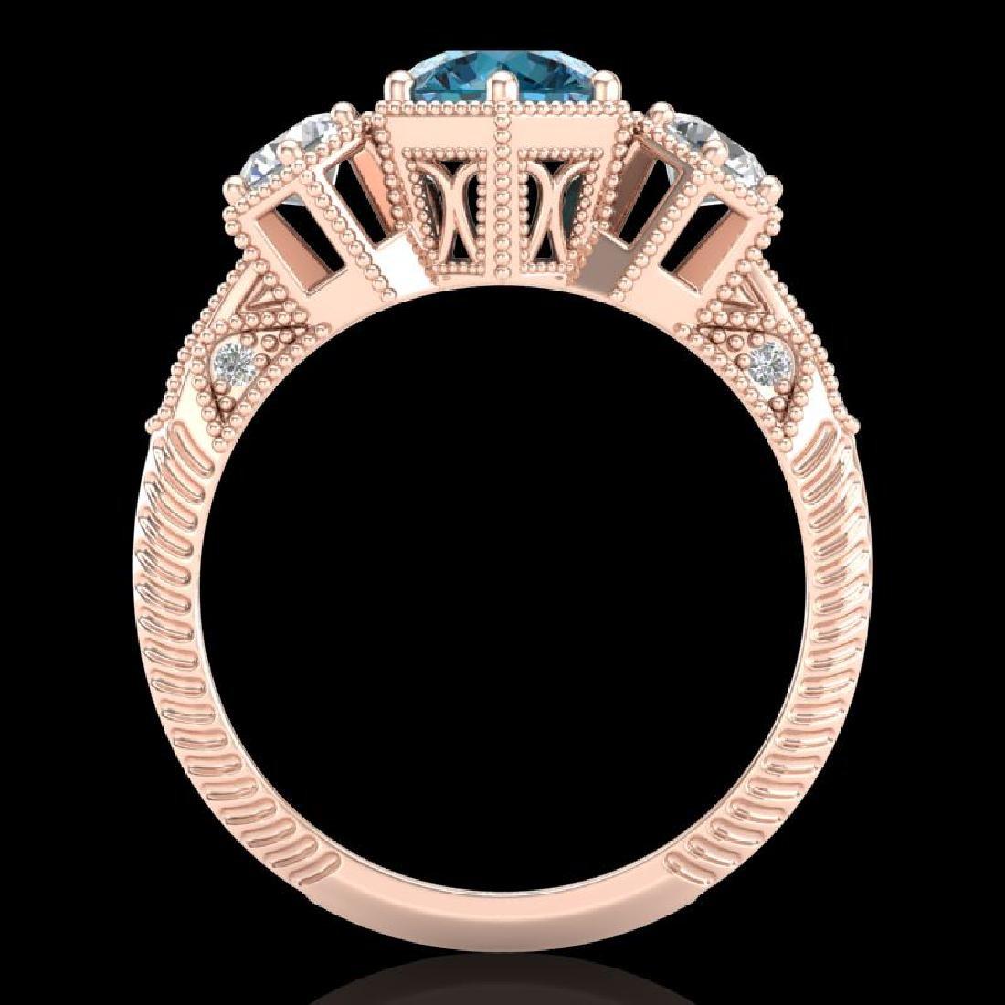 1.66 CTW Intense Blue Diamond Solitaire Art Deco 3 - 3