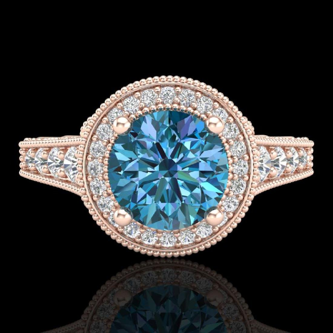 1.91 CTW Fancy Intense Blue Diamond Solitaire Art Deco - 2
