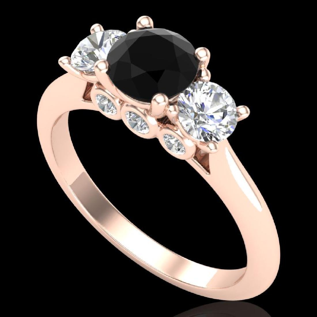 1.5 CTW Fancy Black Diamond Solitaire Art Deco 3 Stone
