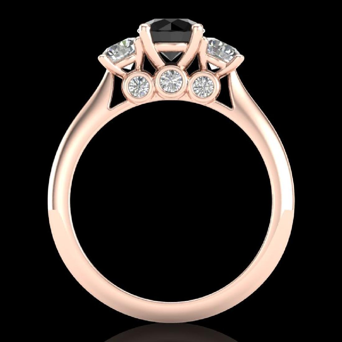 1.5 CTW Fancy Black Diamond Solitaire Art Deco 3 Stone - 3