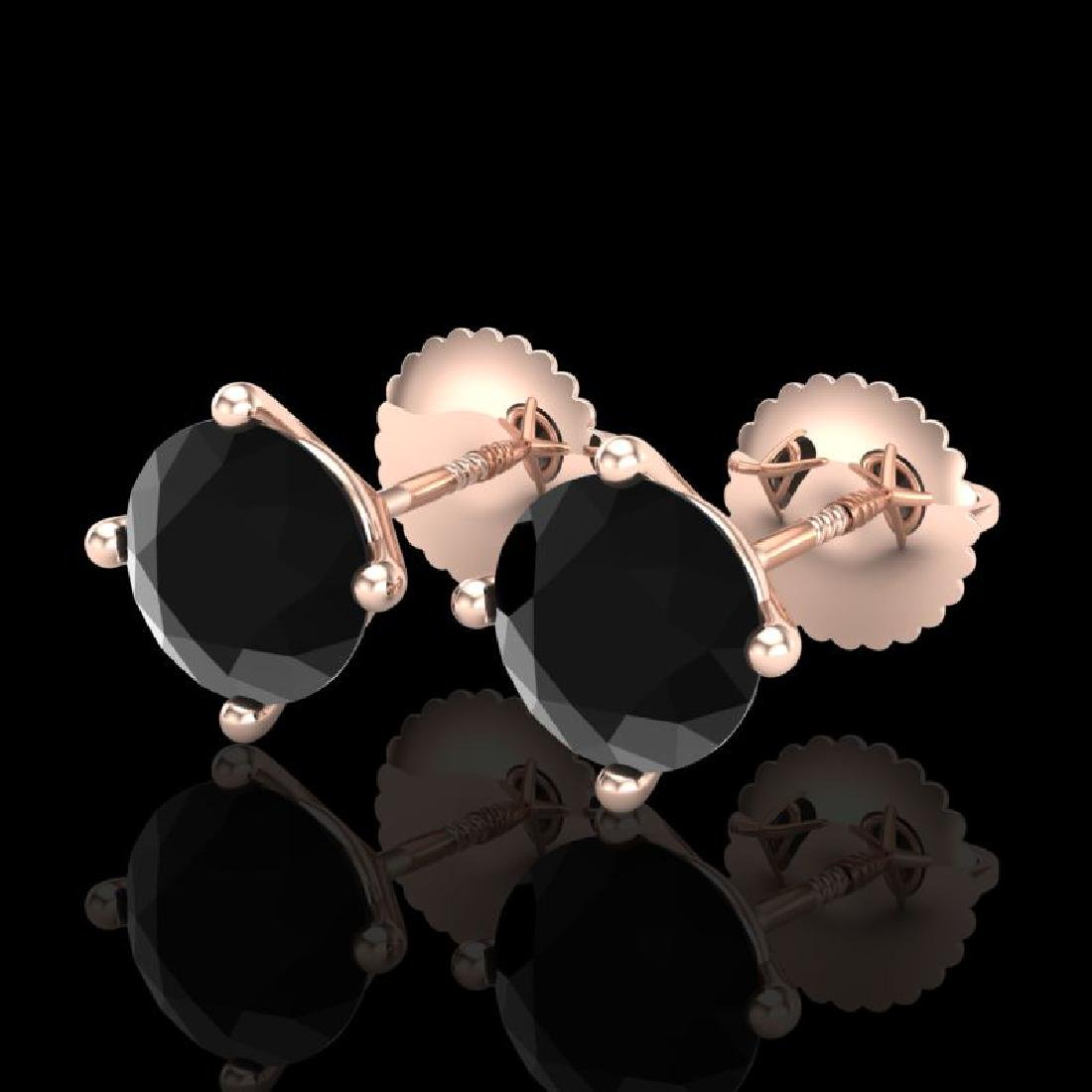 2 CTW Fancy Black Diamond Solitaire Art Deco Stud