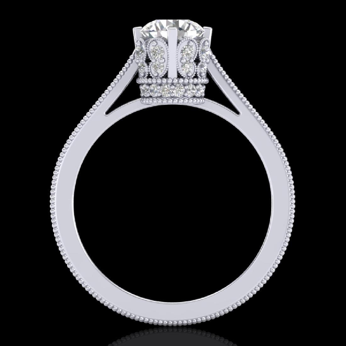 1.14 CTW VS/SI Diamond Art Deco Ring 18K White Gold - 3