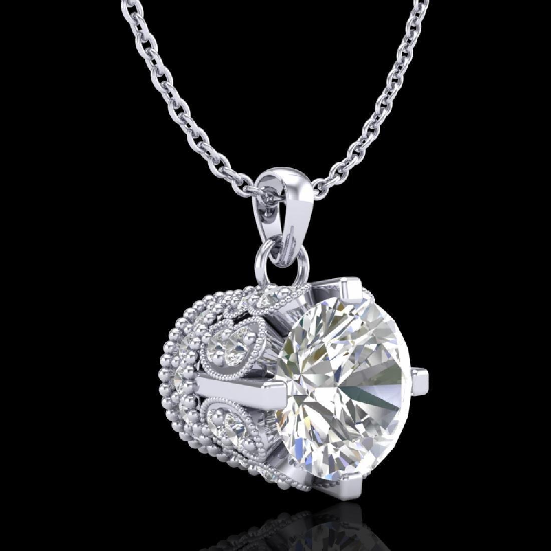 1.14 CTW VS/SI Diamond Solitaire Art Deco Stud Necklace - 3