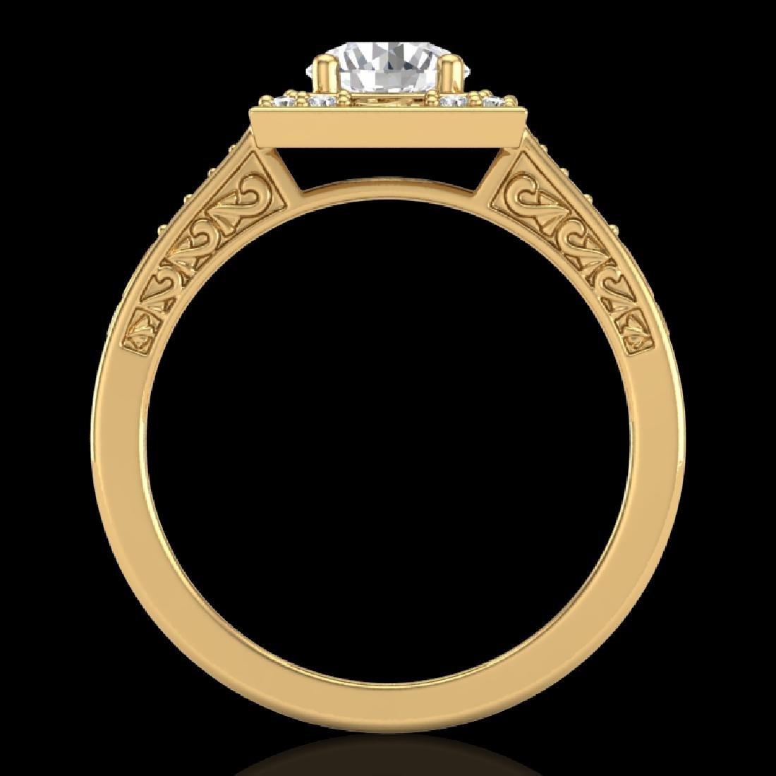 1.1 CTW VS/SI Diamond Art Deco Ring 18K Yellow Gold