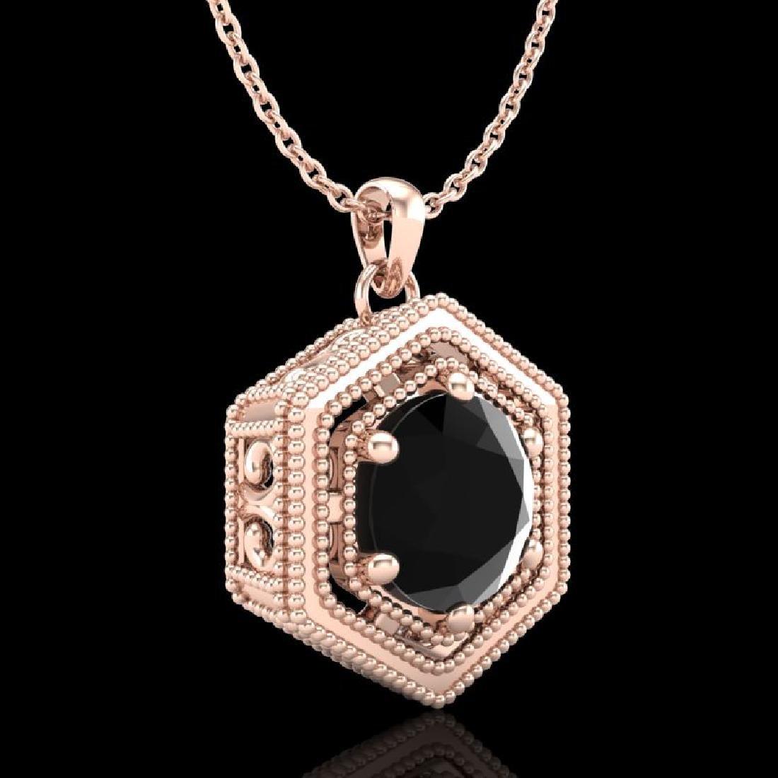 0.76 CTW Fancy Black Diamond Solitaire Art Deco Stud - 3