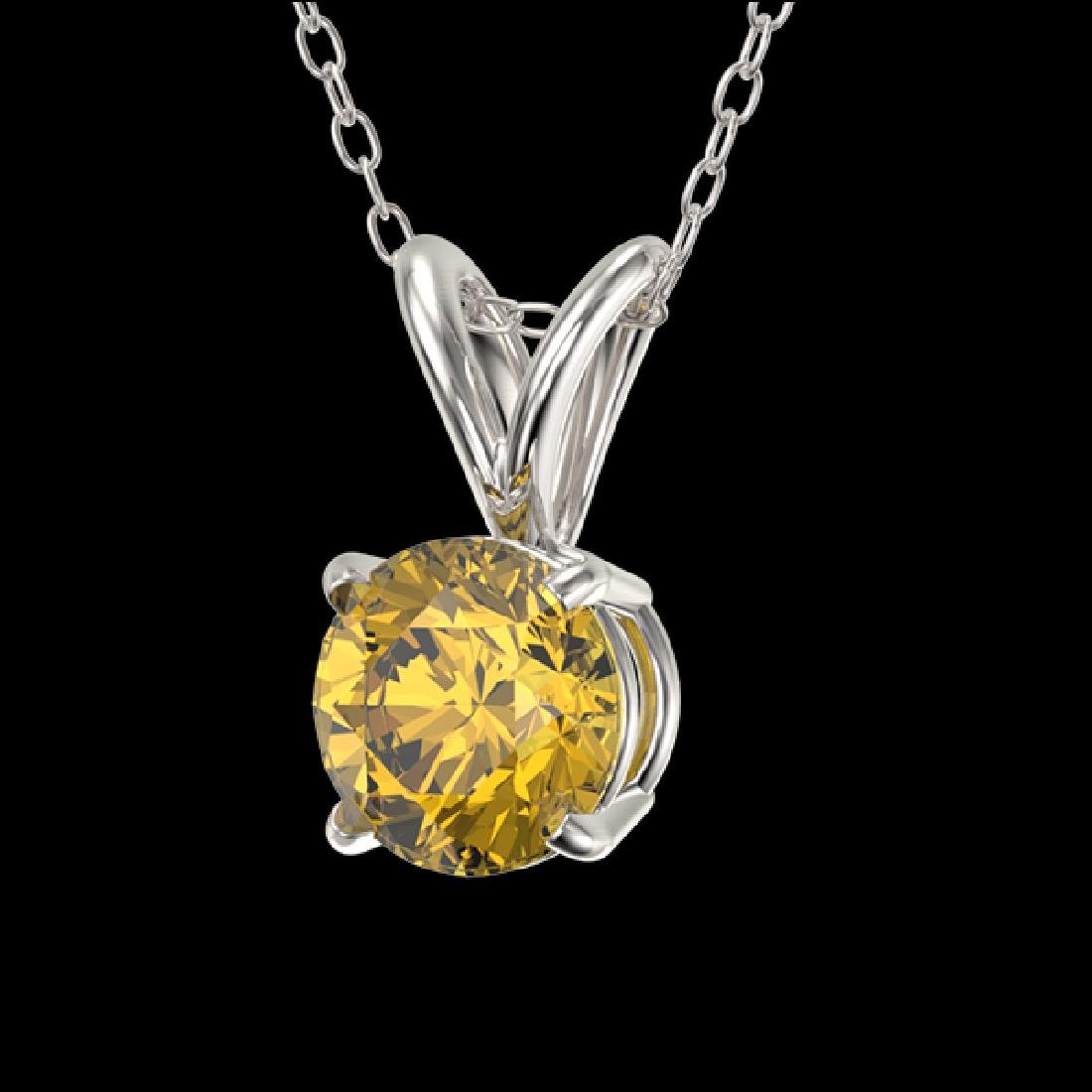0.53 CTW Certified Intense Yellow SI Diamond Solitaire - 2