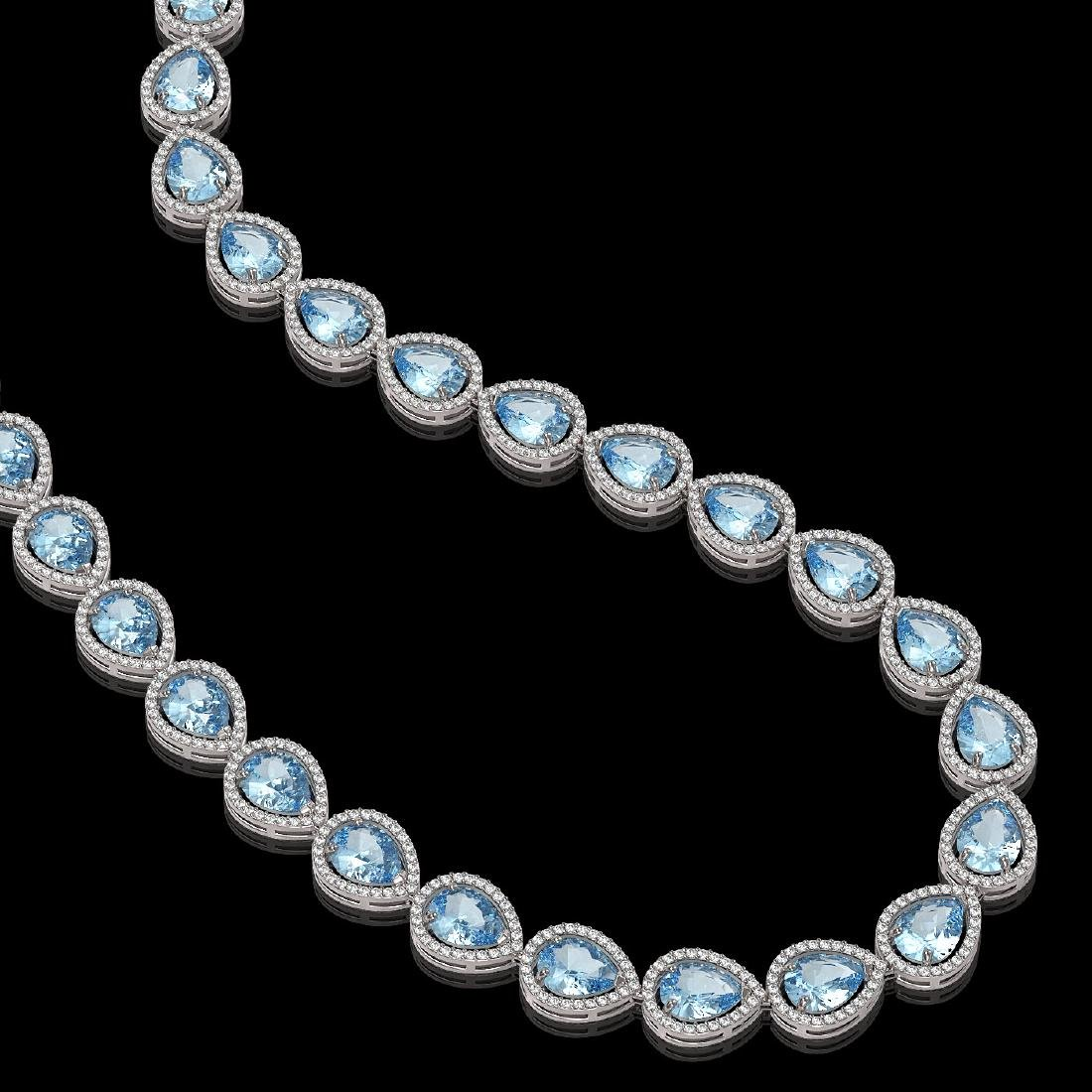 41.6 CTW Sky Topaz & Diamond Halo Necklace 10K White - 2