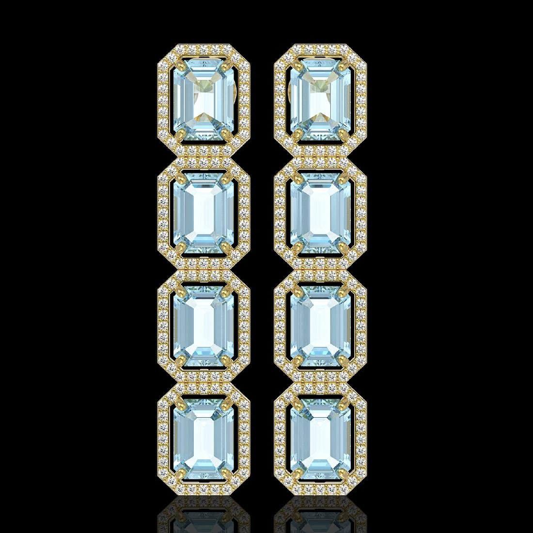 18.99 CTW Sky Topaz & Diamond Halo Earrings 10K Yellow