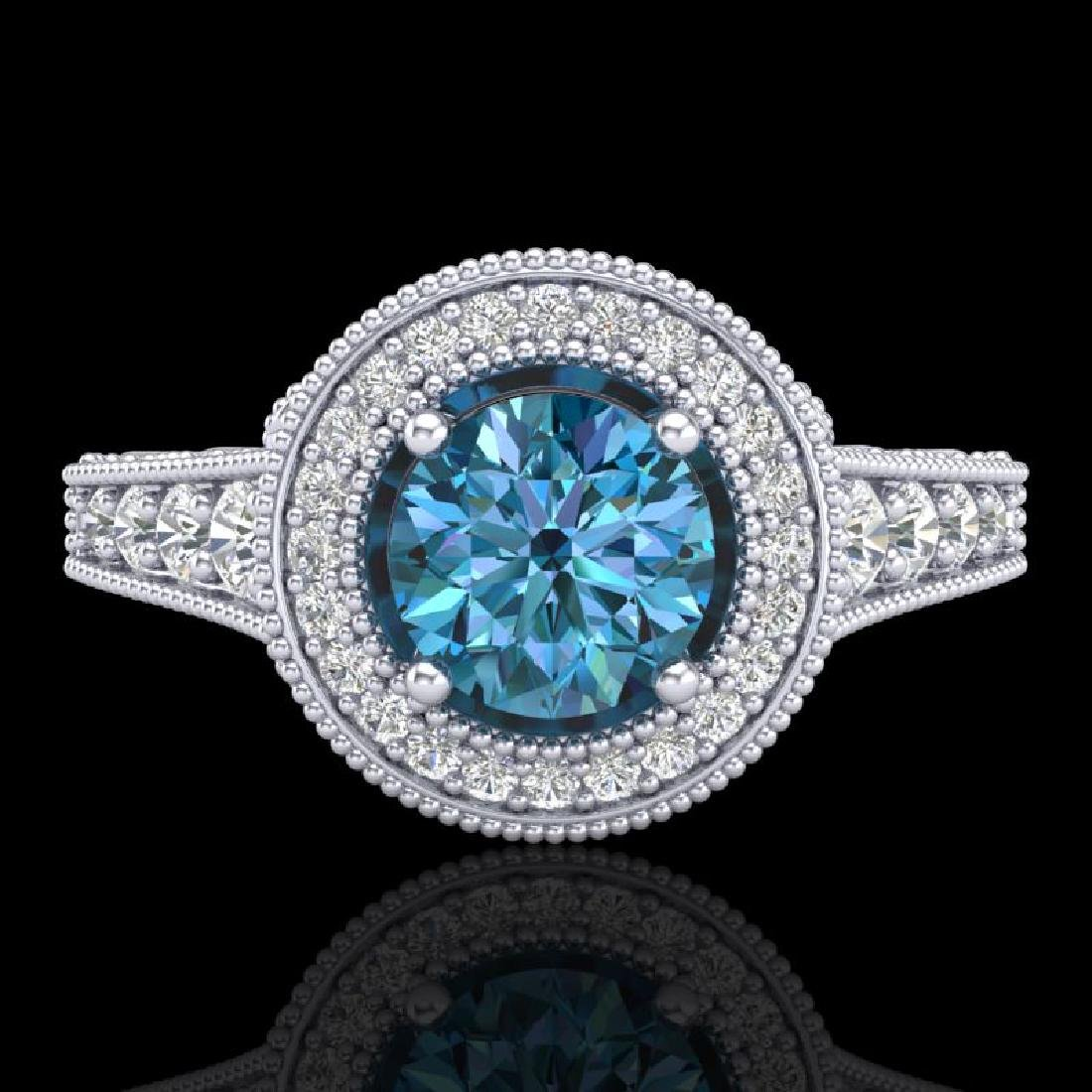 1.12 CTW Fancy Intense Blue Diamond Solitaire Art Deco - 2