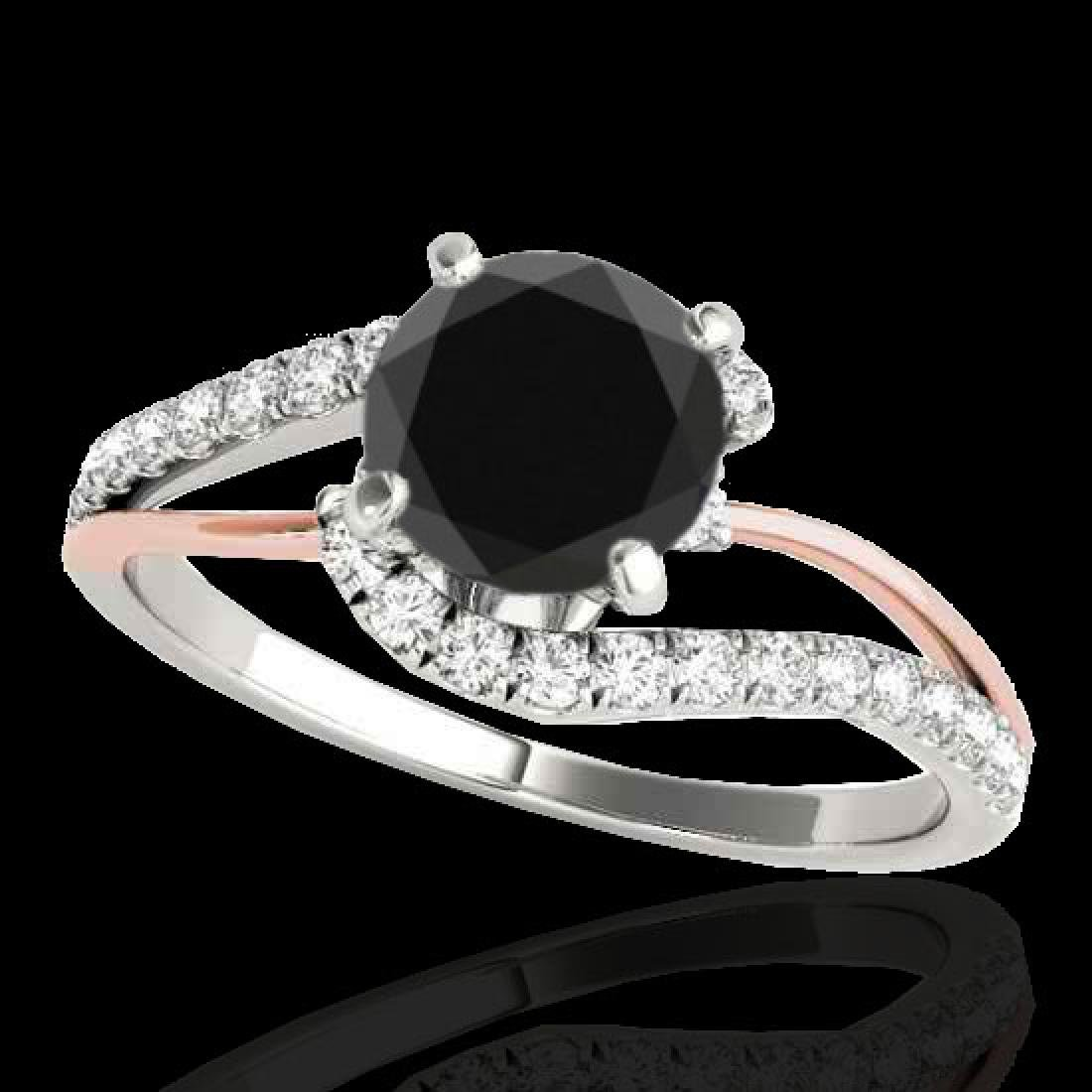 1.35 CTW Certified VS Black Diamond Bypass Solitaire