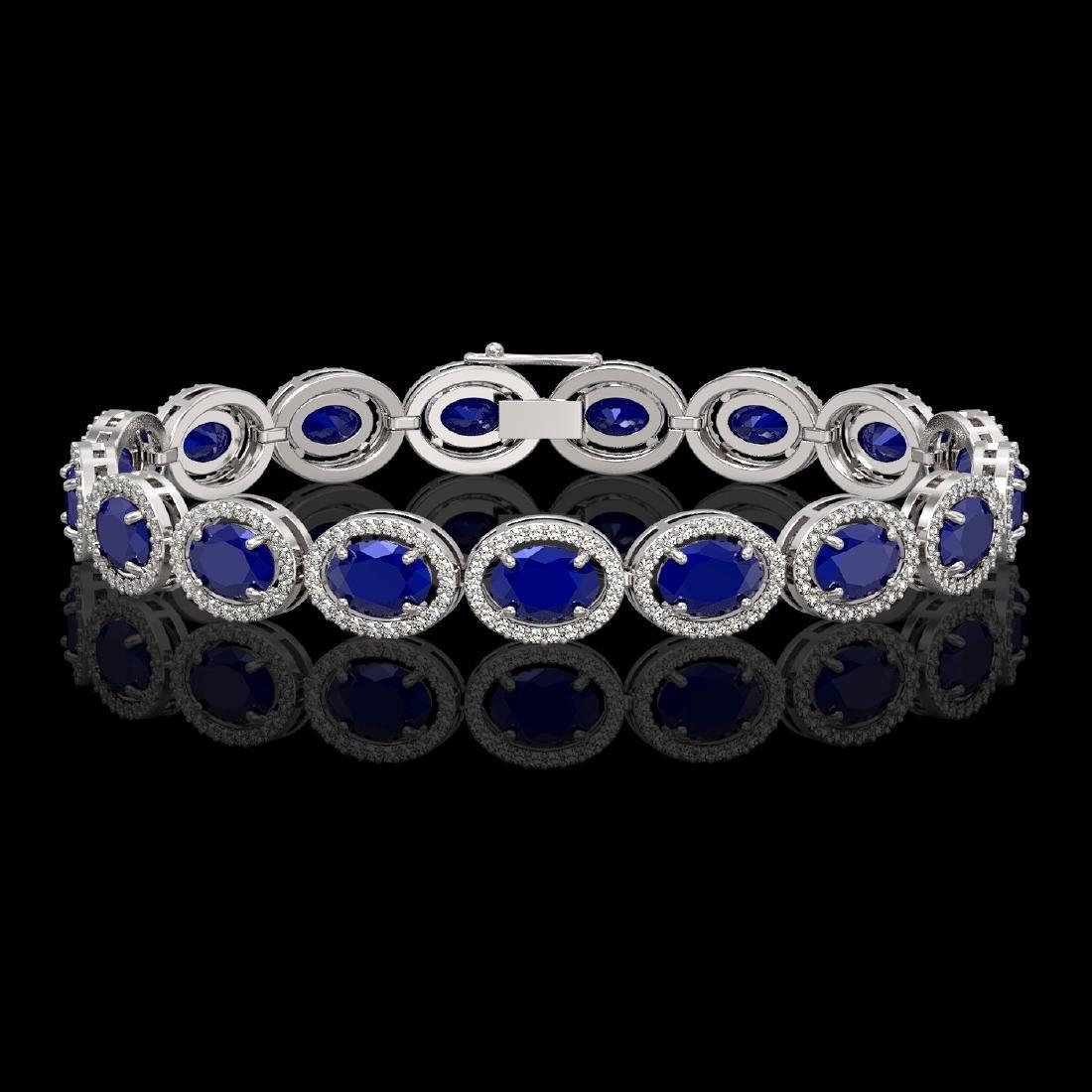22.89 CTW Sapphire & Diamond Halo Bracelet 10K White