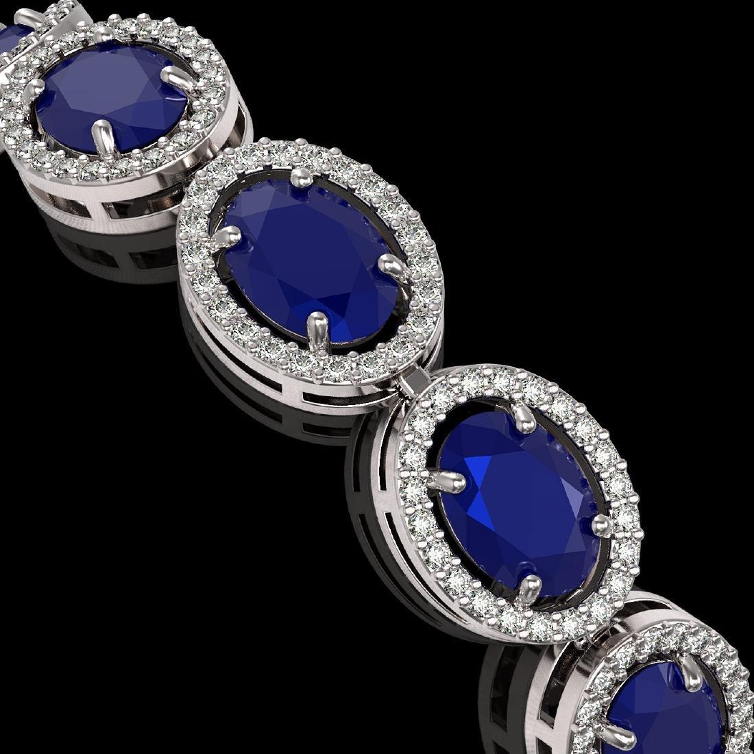 22.89 CTW Sapphire & Diamond Halo Bracelet 10K White - 3