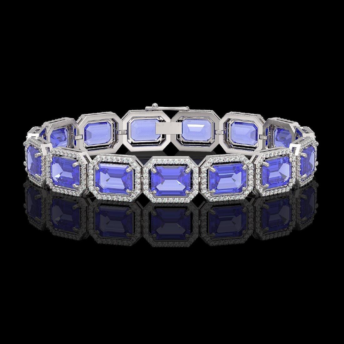 36.37 CTW Tanzanite & Diamond Halo Bracelet 10K White