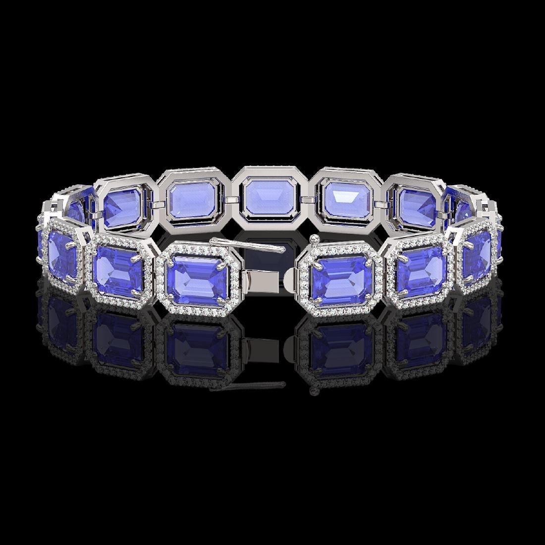 36.37 CTW Tanzanite & Diamond Halo Bracelet 10K White - 2